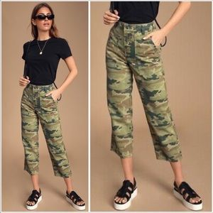 Free People Remy Camo High Rise Cropped Jeans NEW